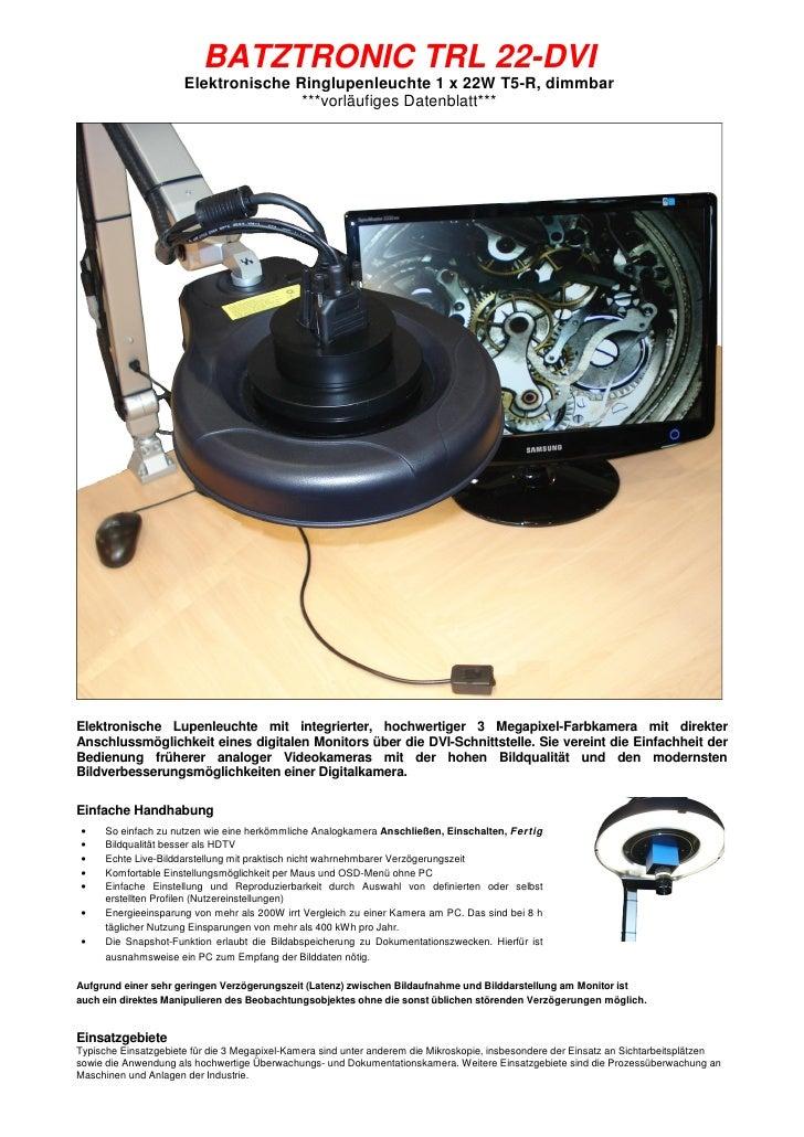 BATZTRONIC TRL 22-DVI                       Elektronische Ringlupenleuchte 1 x 22W T5-R, dimmbar                          ...