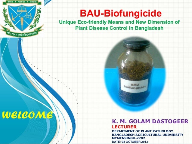 WELCOME BAU-Biofungicide Unique Eco-friendly Means and New Dimension of Plant Disease Control in Bangladesh K. M. GOLAM DA...