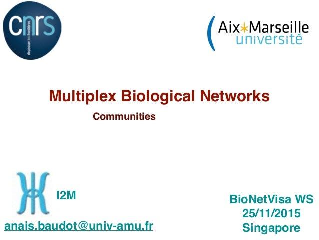 Multiplex Biological Networks Communities 1 BioNetVisa WS 25/11/2015 Singaporeanais.baudot@univ-amu.fr I2M