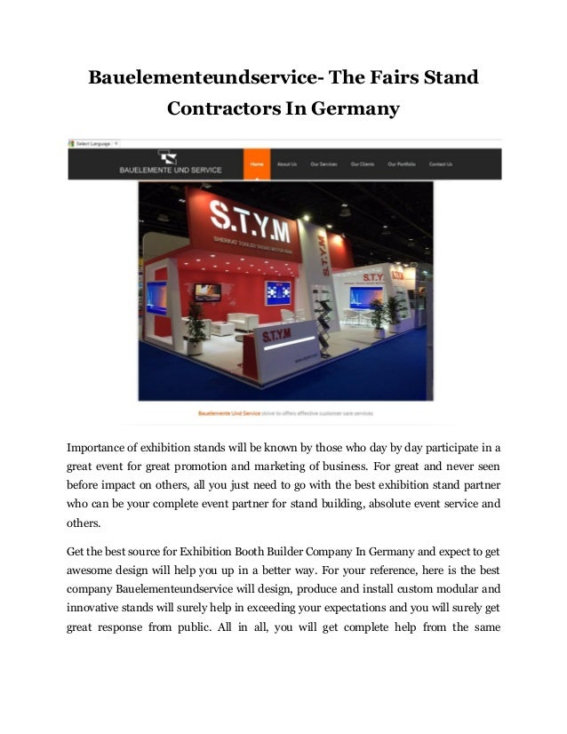 Bauelementeundservice- The Fairs Stand Contractors In Germany Importance of exhibition stands will be known by those who d...