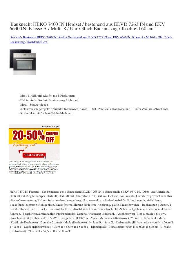 Bauknecht HEKO 7400 IN Herdset / bestehend aus ELVD 7263 IN und EKV6640 IN: Klasse A / Multi-8 / Uhr / 3fach Backauszug / ...