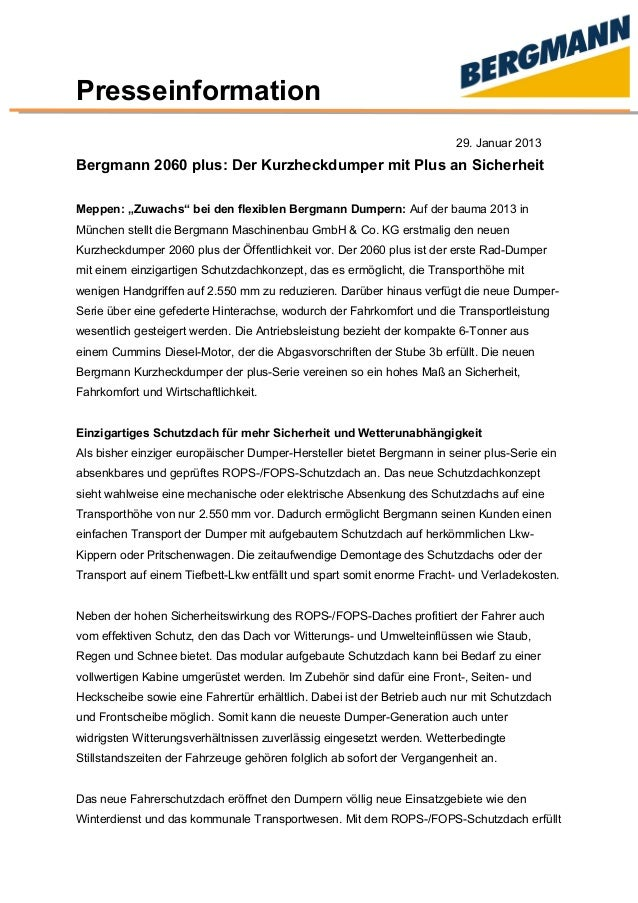 """Presseinformation 29. Januar 2013 Bergmann 2060 plus: Der Kurzheckdumper mit Plus an Sicherheit Meppen: """"Zuwachs"""" bei den ..."""