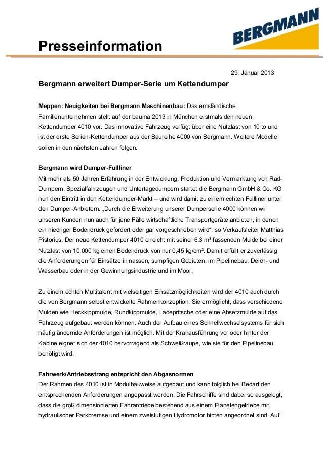 Presseinformation 29. Januar 2013 Bergmann erweitert Dumper-Serie um Kettendumper Meppen: Neuigkeiten bei Bergmann Maschin...
