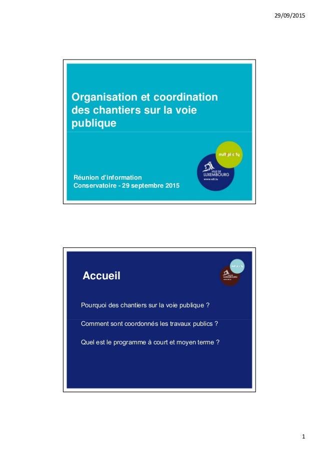 29/09/2015 1 Organisation et coordination des chantiers sur la voie publique Réunion d'information Conservatoire - 29 sept...