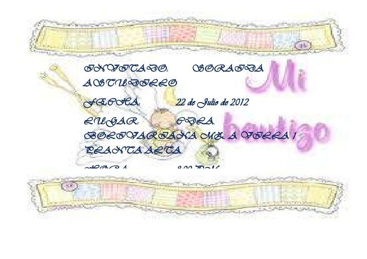INVITADO:     SORAIDAASTUDILLOFECHA:    22 de Julio de 2012LUGAR:    CDLA.BOLIVARIANA MZ. A VILLA 1PLANTA ALTAHORA:     8:...