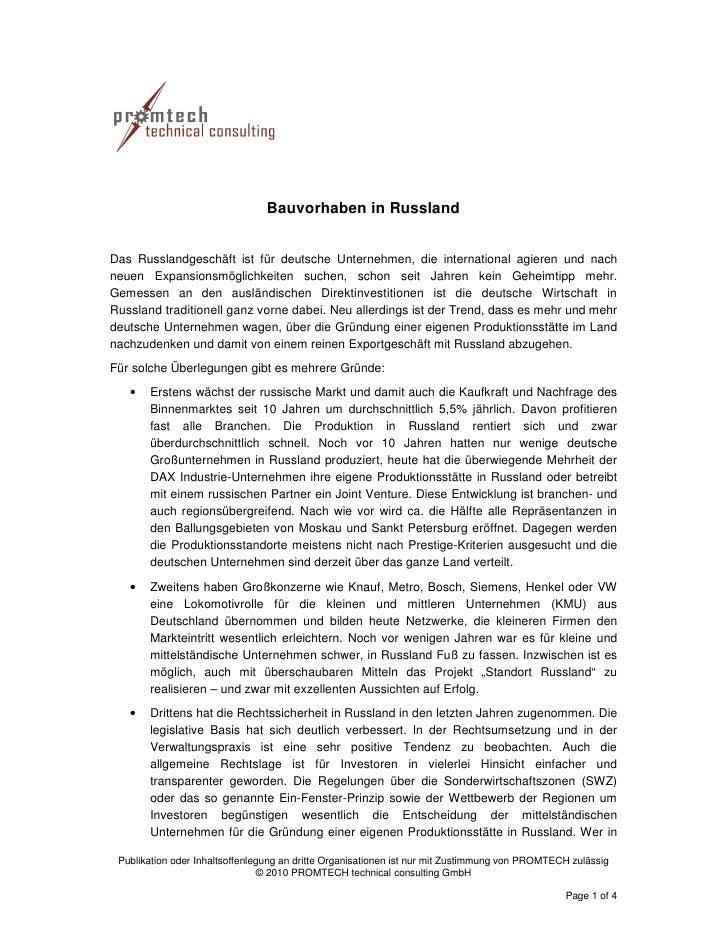 Bauvorhaben in Russland   Das Russlandgeschäft ist für deutsche Unternehmen, die international agieren und nach neuen Expa...