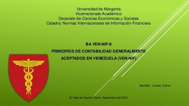 Universidad de Margarita Vicerrectorado Académico Decanato de Ciencias Económicas y Sociales Cátedra: Normas Internacional...