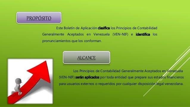 PROPÓSITO Este Boletín de Aplicación clasifica los Principios de Contabilidad Generalmente Aceptados en Venezuela (VEN-NIF...