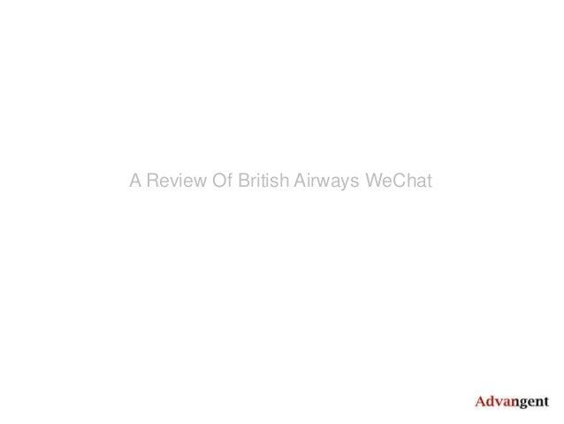 A Review Of British Airways WeChat