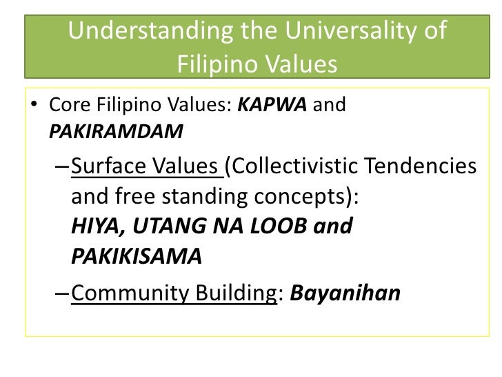reflection to individual about filipino values Culture and development in children's play  norms, and values  realization of self may be a developmental phase that requires some degree of reflection of.