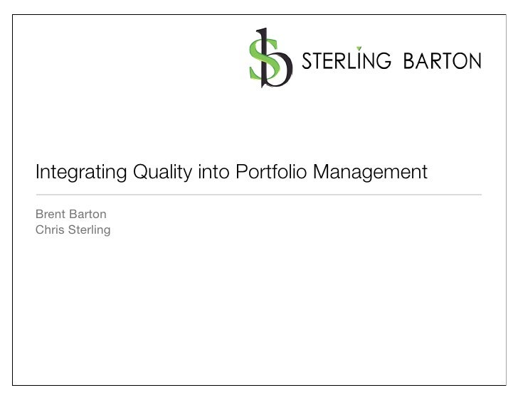 Integrating Quality into Portfolio Management