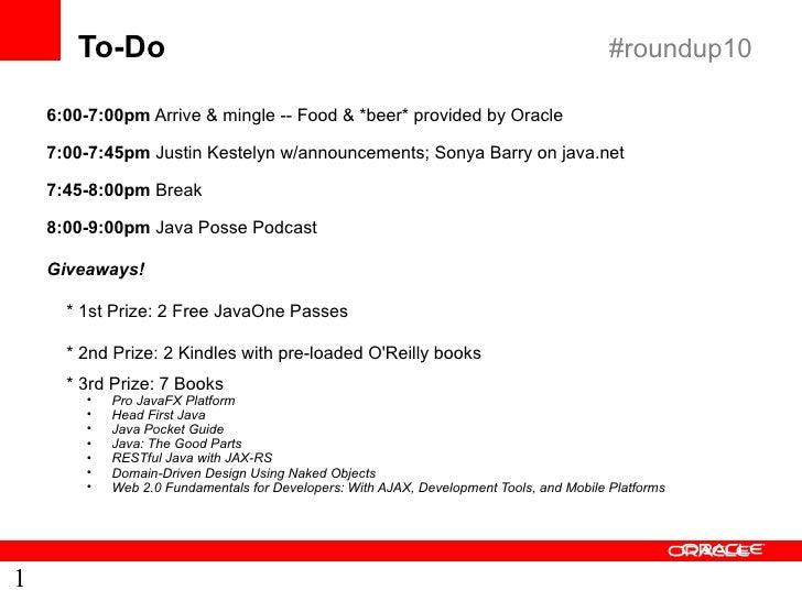 To-Do                                                                              #roundup10      6:00-7:00pm Arrive & mi...