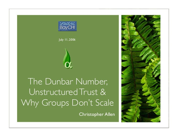 July 11, 2006      The Dunbar Number,  Unstructured Trust & Why Groups Don't Scale                          Christopher Al...
