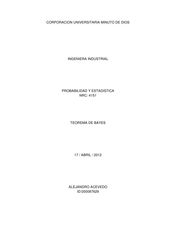 CORPORACION UNIVERSITARIA MINUTO DE DIOS          INGENIERA INDUSTRIAL       PROBABILIDAD Y ESTADISTICA               NRC:...