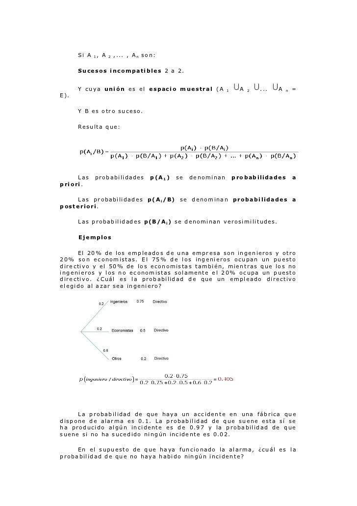 Si A   1,   A   2   ,... , An son:      Sucesos incompatibles 2 a 2.      Y cuya unión es el espacio muestral (A          ...