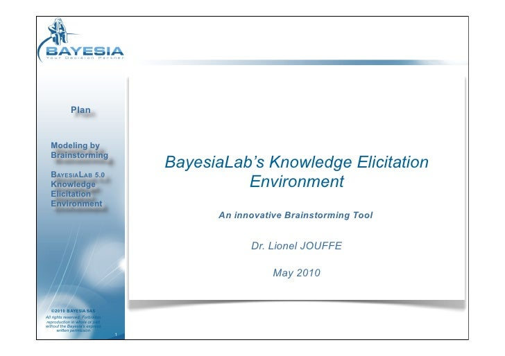 Plan     Modeling by   Brainstorming                                      BayesiaLab's Knowledge Elicitation   BAYESIALAB ...