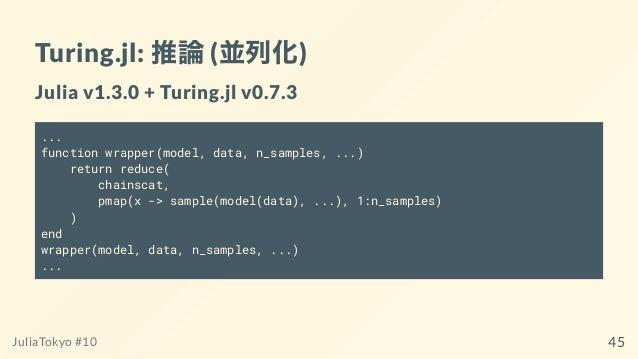 Turing.jl: 推論(並列化) Julia v1.3.0 + Turing.jl v0.7.3 ... function wrapper(model, data, n_samples, ...) return reduce( chains...