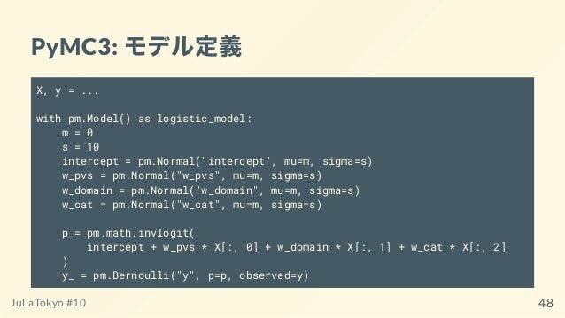 "PyMC3: モデル定義 X, y = ... with pm.Model() as logistic_model: m = 0 s = 10 intercept = pm.Normal(""intercept"", mu=m, sigma=s) ..."