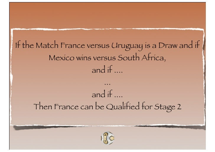 If the Match France versus Uruguay is a Draw and if          Mexico wins versus South Africa,                      and if ...
