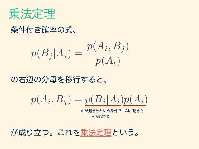 全確率の公式 1年生 2年生 3年生 合計 女性 15 12 13 40 男性 22 20 18 60 合計 37 32 31 100 B1 B2 B3 A2 A1 乗法定理と周辺化により下記が成り立つ。 p(Bj) = aX i=1 p(Bj...