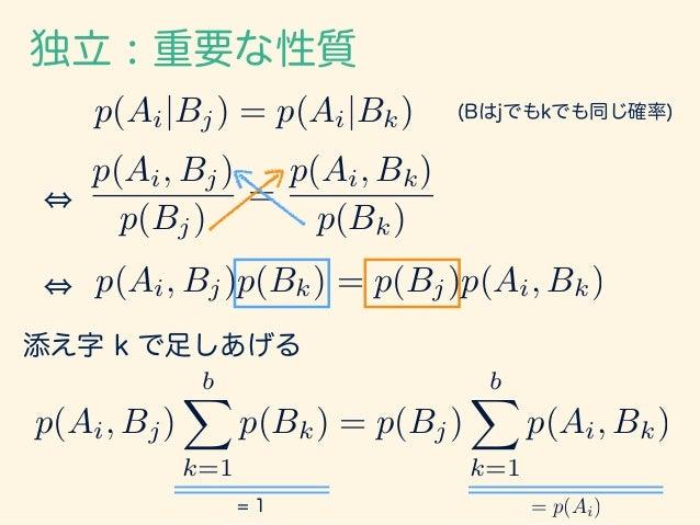 独立 : 重要な性質 p(Ai, Bj) bX k=1 p(Bk) = p(Bj) bX k=1 p(Ai, Bk) = 1 = p(Ai) p(Ai, Bj) = p(Ai)p(Bj) つまり、AとBが独立である場合には、 「同時確率が、個々...