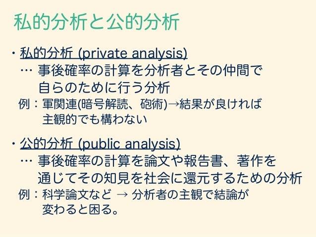 ベイズの定理の第3の使用法 1:事前確率: 客観確率 条件付き確率: 客観確率 検診問題の例。使い方に異議なし。 2:事前確率: 客観確率 条件付き確率: 主観確率 碁石問題など。主観確率の恣意性に注意して私的 or公的...