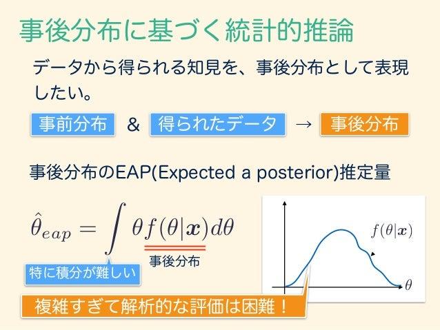 事後分布に基づく統計的推論 事後分布のEAP(Expected a posterior)推定量 ˆ✓eap = Z ✓f(✓|x)d✓ 事後分布 ✓ f(✓|x) データから得られる知見を、事後分布として表現 したい。 事前分布 & 得られたデ...