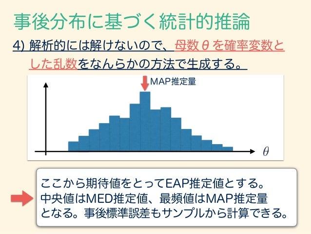 事後分布に基づく統計的推論 ✓ 4) 解析的には解けないので、母数θを確率変数と した乱数をなんらかの方法で生成する。 ここから期待値をとってEAP推定値とする。 中央値はMED推定値、最頻値はMAP推定量 となる。事後標準誤差もサンプルから計...