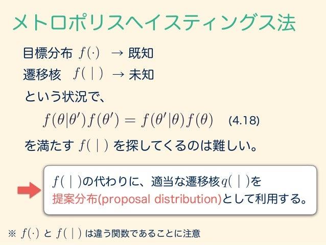 の代わりに、適当な遷移核 を 提案分布(proposal distribution)として利用する。 ※ と は違う関数であることに注意 遷移核 → 未知 メトロポリスヘイスティングス法 目標分布 → 既知f(·) f( | ) f(·) f...