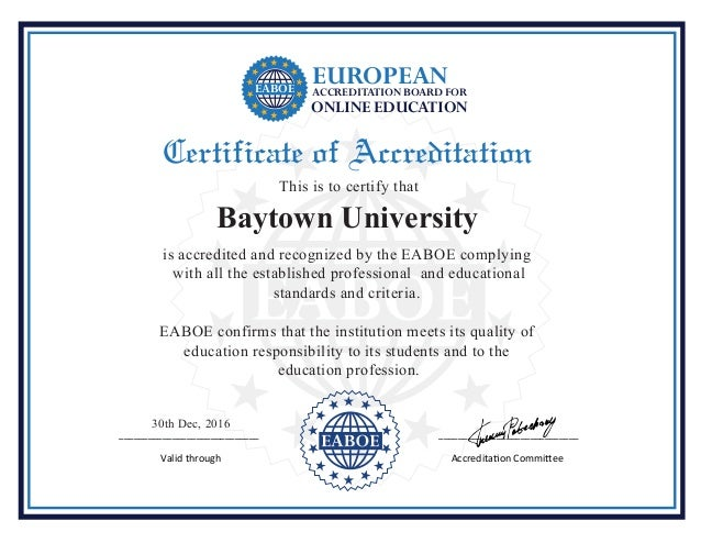 _____________________________ _____________________________ Valid through Accreditation Committee Certificate of Accredita...
