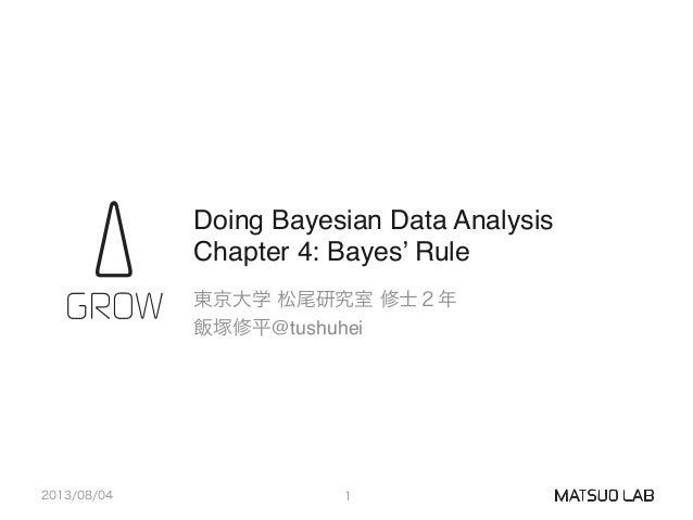 "Doing Bayesian Data Analysis Chapter 4: Bayes' Rule 東京大学 松尾研究室 修士2年"" 飯塚修平@tushuhei 2013/08/04 1"