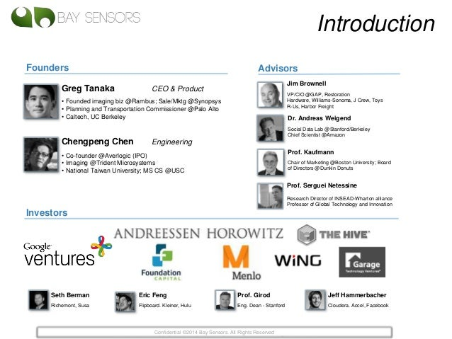 Introduction Founders Investors Advisors Seth Berman Richemont, Susa Prof. Girod Eng. Dean - Stanford Eric Feng Flipboard....