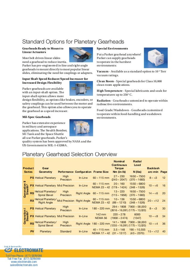 Bayside px gearheads catalog for Parker bayside frameless torque motors