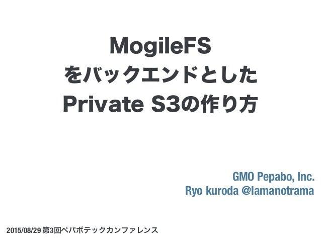 GMO Pepabo, Inc. Ryo kuroda @lamanotrama 2015/08/29 第3回ペパボテックカンファレンス MogileFS をバックエンドとした Private S3の作り方