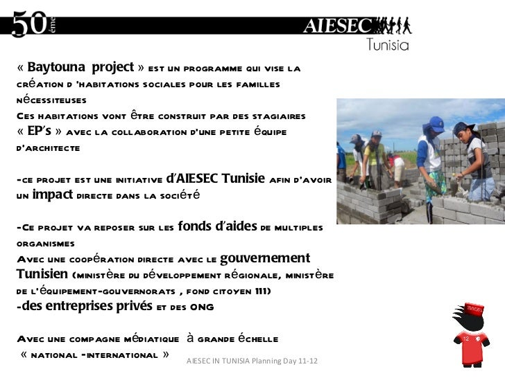 AIESEC IN TUNISIA Planning Day 11-12 « Baytounaproject  » est un programme qui vise la création d'habitations sociales ...
