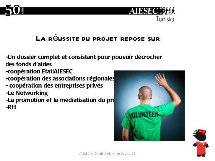 AIESEC IN TUNISIA Planning Day 11-12 -Un dossier complet et consistant pour pouvoir décrocher des fonds d'aides -coopérati...