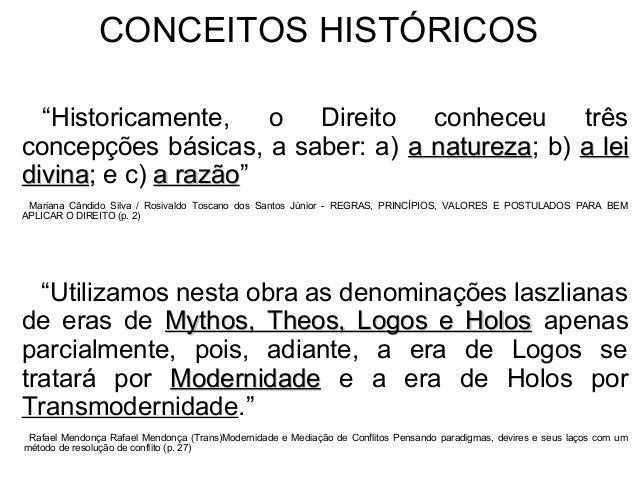 """CONCEITOS HISTÓRICOS """"Historicamente, o Direito conheceu três concepções básicas, a saber: a) a naturezaa natureza; b) a l..."""