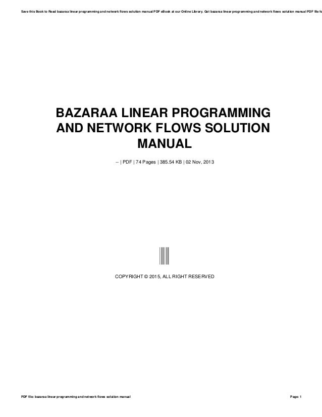 Bazaraa Nonlinear Programming - Free Download