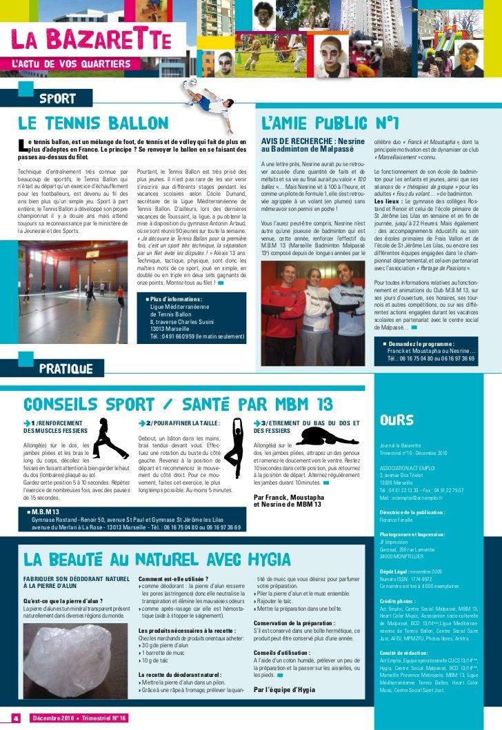 La Bazarettelactu de vos quartiers             Sport    LE TENNIS BALLON                                                  ...