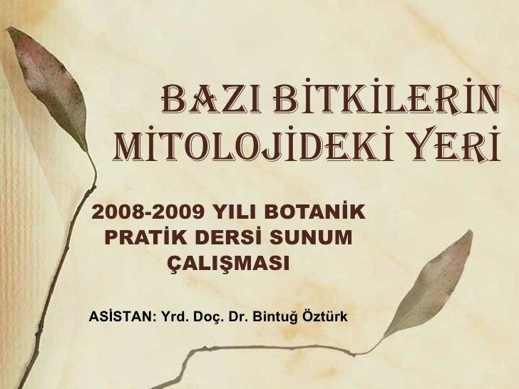 BAZI BİTKİLERİN MİTOLOJİDEKİ YERİ 2008-2009 YILI BOTANİK PRATİK DERSİ SUNUM ÇALIŞMASI ASİSTAN: Yrd. Doç. Dr. Bintuğ Öztürk