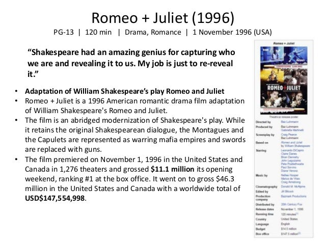new and old versions of romeo and juliet essay Comparison of: romeo and juliet 1996: 1968 romeo and juliet: setting: california's verona beach: italy: montague clothes: buzz cuts, pink hair, tattoos, colorful.