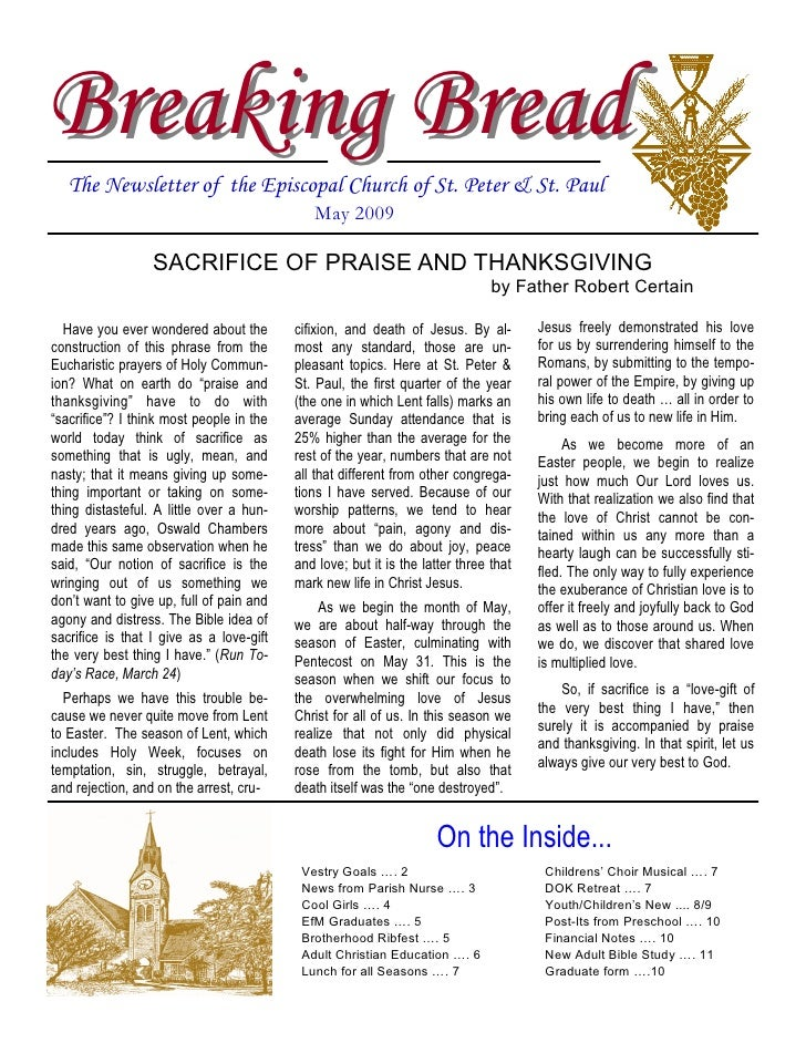 Breaking Bread    The Newsletter of the Episcopal Church of St. Peter & St. Paul                                          ...