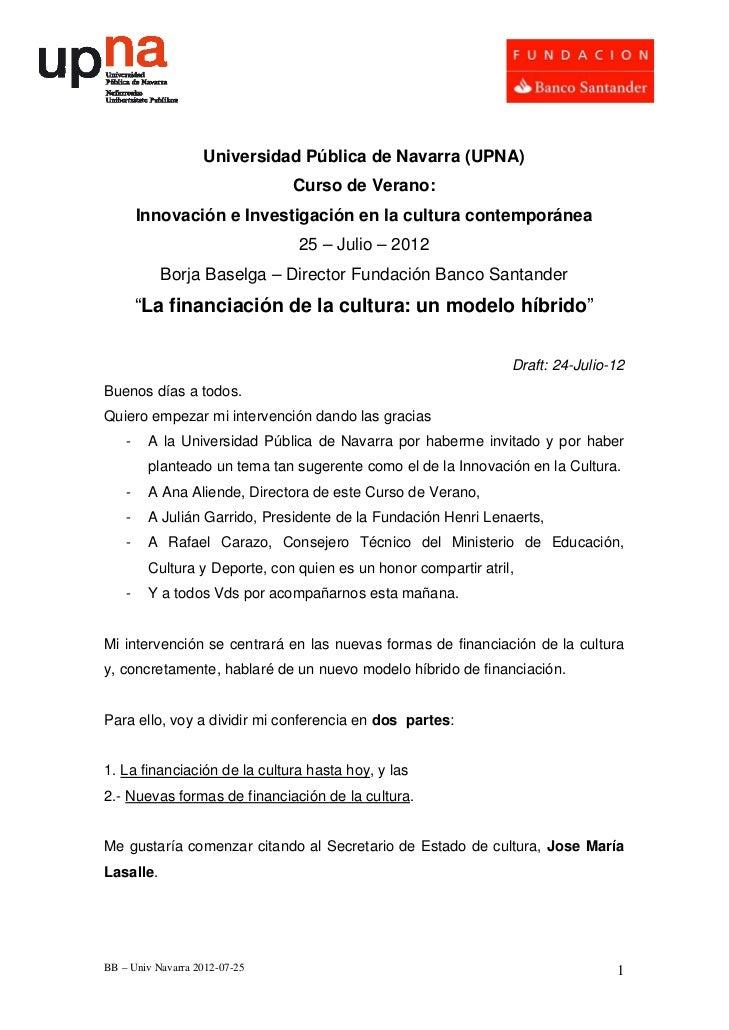 Universidad Pública de Navarra (UPNA)                               Curso de Verano:        Innovación e Investigación en ...