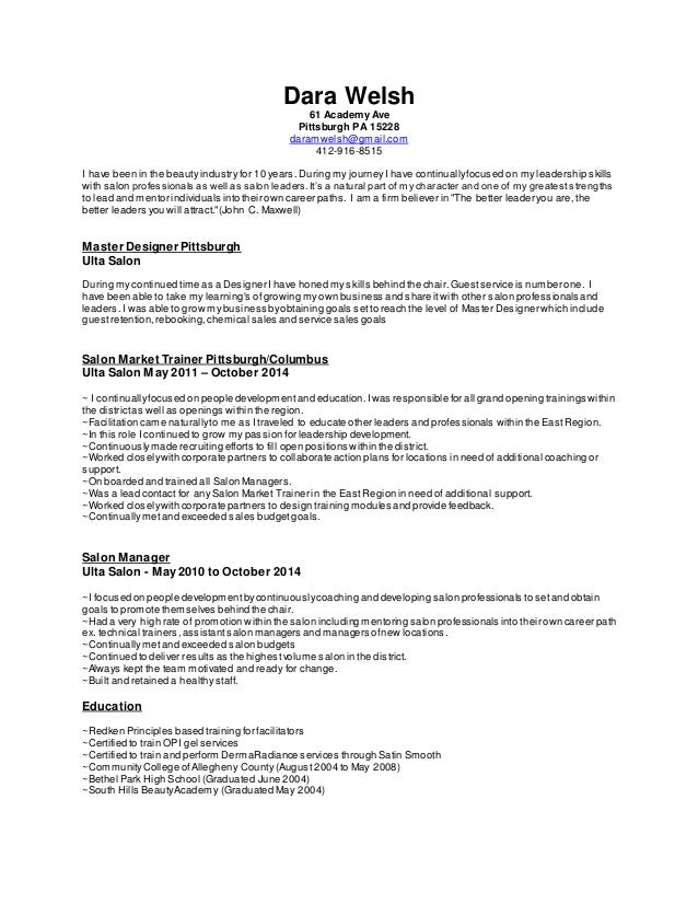 dara welsh resume march 2015
