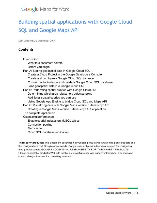 Building Spatial Applications With Google Cloud Sql And Google Maps A
