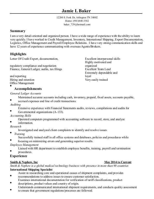 Jamie L Baker 12280 S. Fork Dr, Arlington TN 38002 Home: (901 ...  Baker Resume