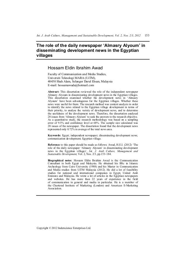 Int. J. Arab Culture, Management and Sustainable Development, Vol. 2, Nos. 2/3, 2012 153 Copyright © 2012 Inderscience Ent...
