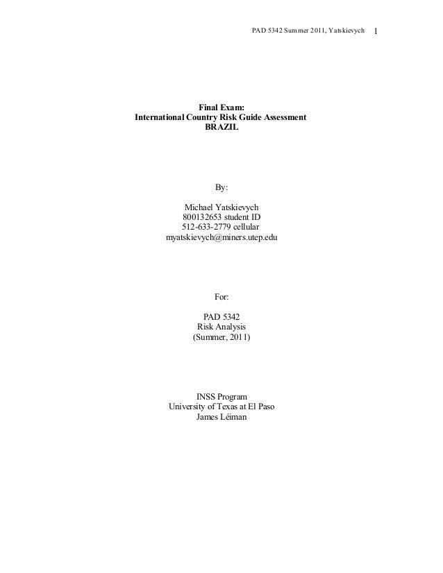 BrazilInternational Country Risk Guide Worksheet – Internal and External Conflict Worksheets