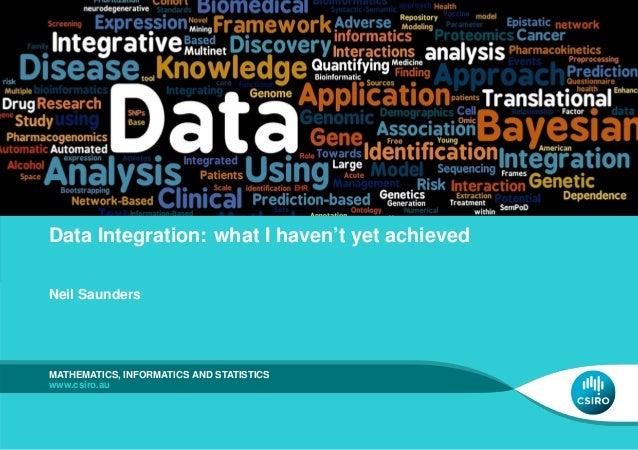 Data Integration: what I haven't yet achieved Neil Saunders  MATHEMATICS, INFORMATICS AND STATISTICS www.csiro.au