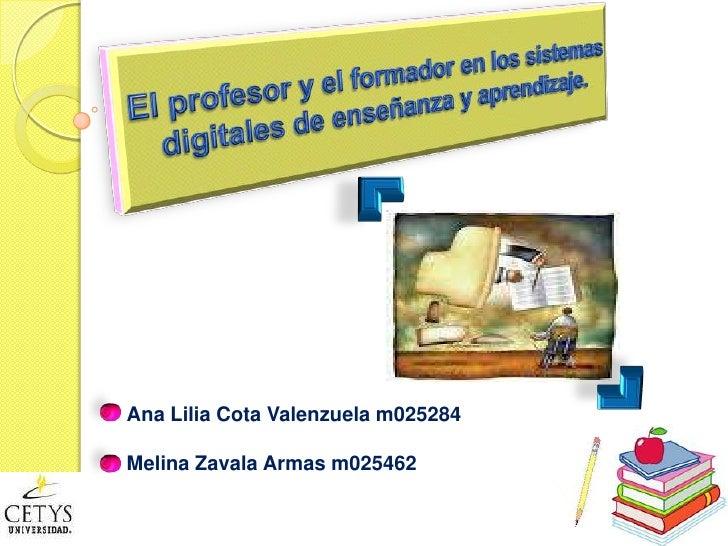 El profesor y el formador en los sistemas digitales de enseñanza y aprendizaje.<br />Ana Lilia Cota Valenzuela m025284<br ...